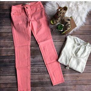 Denim - Neon Coral Skinny Jeans 7